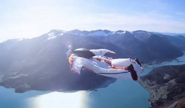 guy flying over norway